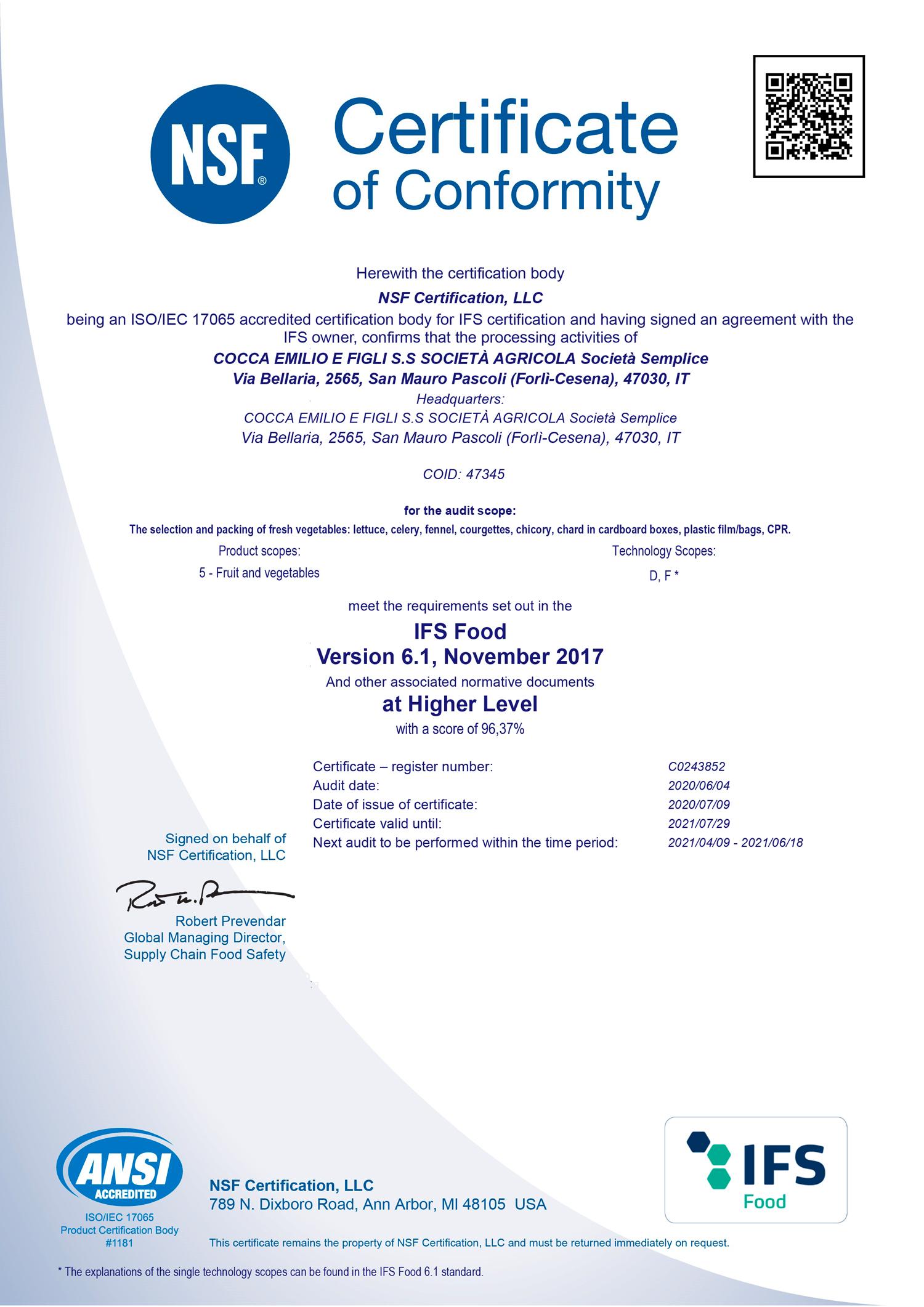 Certificate--SOCIETA_-AGRICOLA-COCCA-EMILIO-E-FIGLI-S.S.